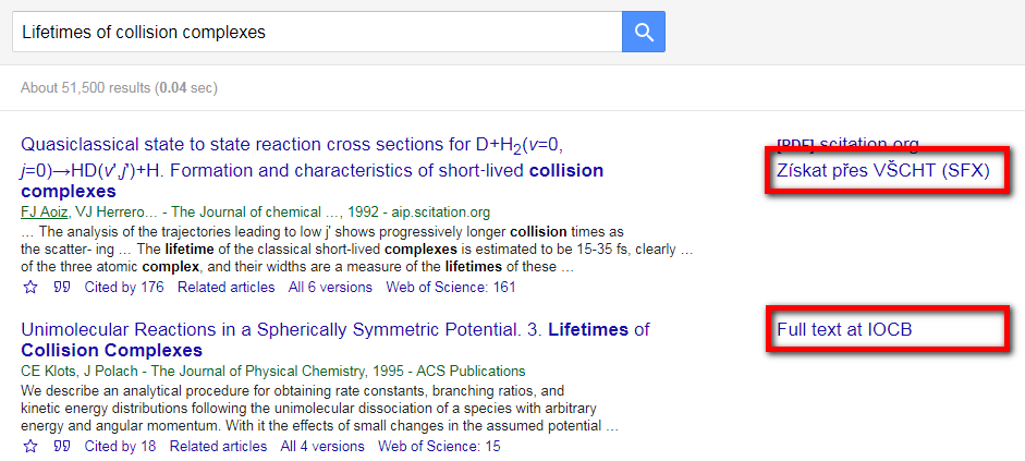 Google scholar - search results