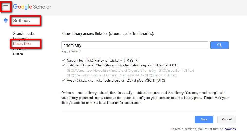 Google scholar - library links