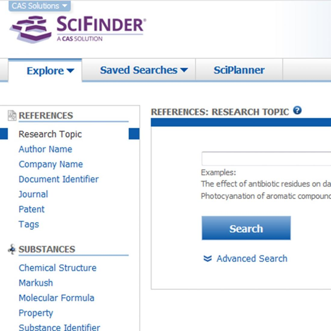 SciFinder structural database